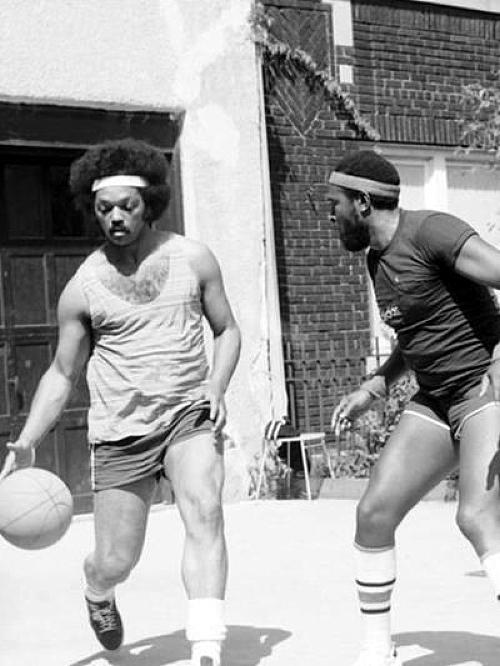 Jesse Jackson and Marvin Gaye playing basketball