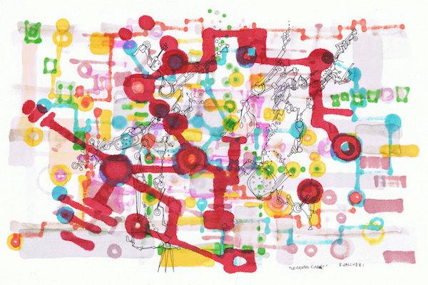 Regina Valluzzi   Learning Circuit, hand-drawn ink on acid free paper, 6 x 9 inches