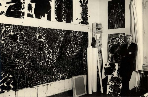Lee Mullican in his studio.