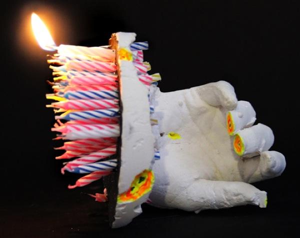 Rachel Rossin | Waiting | Plaster. birthday candles, paint. Februray 2013 Balast Projects
