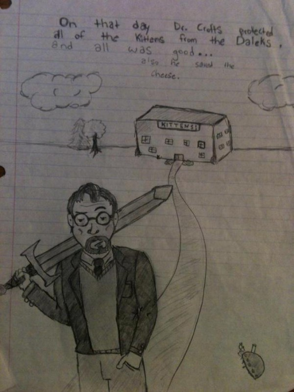 Drawing of Professor Crofts by one his students.